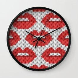 Lips pattern - white Wall Clock
