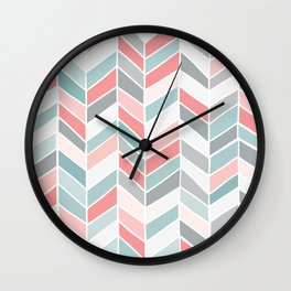 Pastel Chevrons Wall Clock