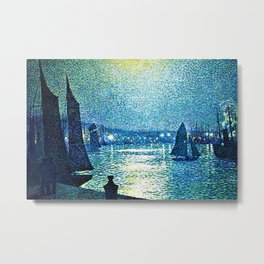 Classical Masterpiece 'Moonlight Night in Boulogne, Italy' by Theo van Rysselberghe Metal Print