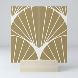 Diamond Series Round Sun Burst White on Gold Mini Art Print