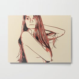 Glamour posing, sexy hidden nudity, long haired beautiful redhead, topless Metal Print