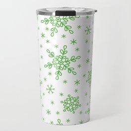 Christmas Holiday Green Snowflake Pattern Travel Mug