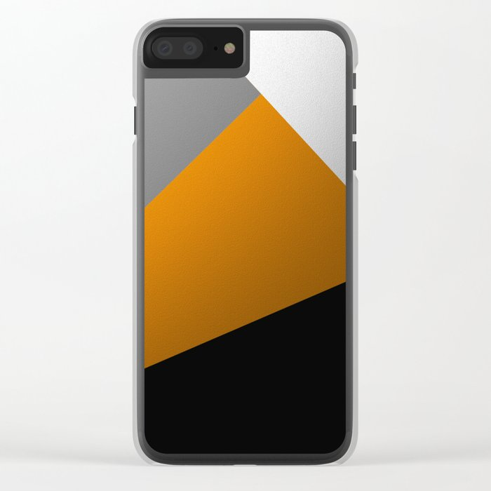 Metallic I - Abstract, geometric, metallic textured gold, silver and black metal effect artwork Clear iPhone Case