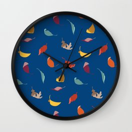 Fall Leaves on Blue Wall Clock