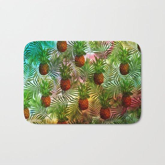 Pineapples - Tropical fruit watercolor illustration pattern Bath Mat