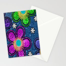 Glitter Flowers Stationery Cards