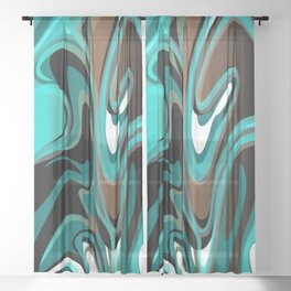 Liquify - Brown, Turquoise, Teal, Black, White Sheer Curtain