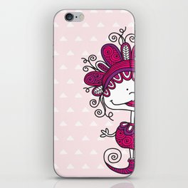 Doodle Doll with Curls on Pink Background iPhone Skin