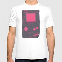 Game Boy on pink White SMALL Mens Fitted Tee