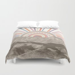 Summerlin Mountain Up // Abstract Vintage Mountains Summer Sun Surf Beach Vibe Drawing Happy Wall Ha Duvet Cover