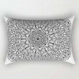 Circle of Life Mandala Black and White Rectangular Pillow