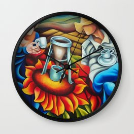 Coffee on flowers Wall Clock