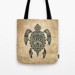 Vintage Teal Blue Haida Spirit Sea Turtle Tote Bag