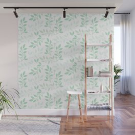 Leaves pattern in Pale Green Wall Mural