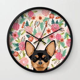 Chihuahua dog floral pet pure breed gifts for chihuahua black and tan Wall Clock