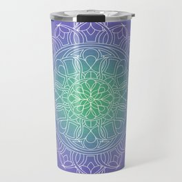 White Lace Mandala in Blue, Green and Purple Travel Mug
