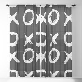 XOXO Hand Drawn Pattern in Black and White Sheer Curtain