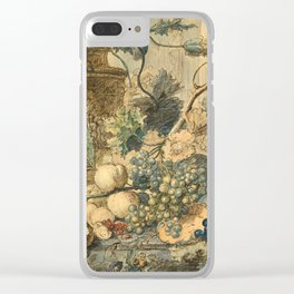 "Jan van Huysum ""Still life with flowers and fruits"" (drawing) Clear iPhone Case"