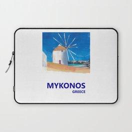 Mykonos Greece Windmill, Sea and Little Venice Travel Retro Poster Laptop Sleeve