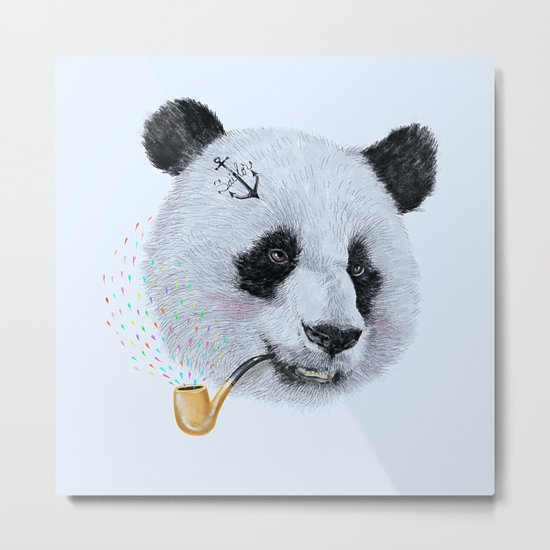 Panda Sailor Metal Print