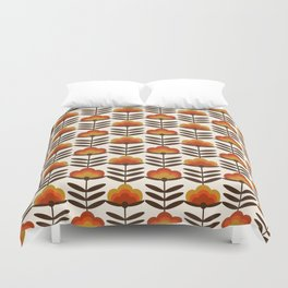 Boogie - retro florals minimal trendy 70s style throwback flower pattern Duvet Cover