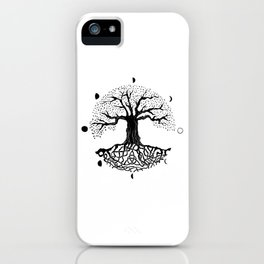 black and white tree of life with moon phases and celtic trinity knot II iPhone Case