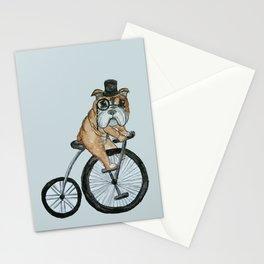 English Bulldog Riding a Penny-farthing Stationery Cards