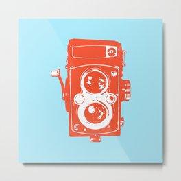 Big Vintage Camera - Orange / Blue Metal Print