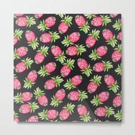 Hot pink green black tropical watercolor pineapple fruit Metal Print