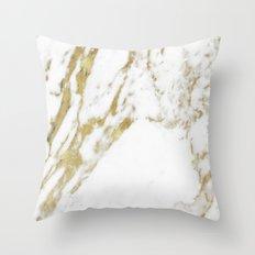 Gold vein marble Throw Pillow