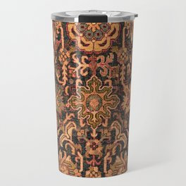 Floral Medallion I // 18th Century Colorful Blue Lime Green Pink Sapphire Plum Burlap Brown Pattern Travel Mug