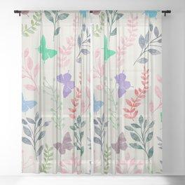 Watercolor flowers & butterflies Sheer Curtain