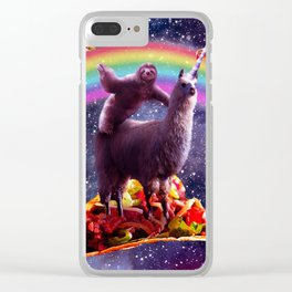 Space Sloth Riding Llama Unicorn - Taco & Burrito Clear iPhone Case