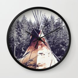 Tipi With Painted Elk And Birds Wall Clock
