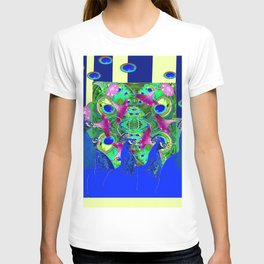 BLUE PEACOCKS & MORNING GLORIES PARALLEL YELLOW PATTERNED ART T-shirt