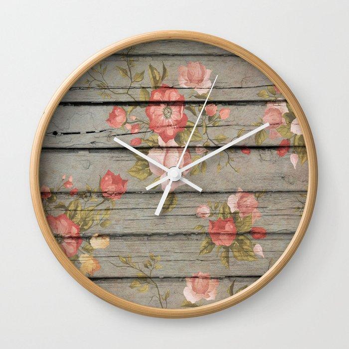 Rustic Floral Wall Clock