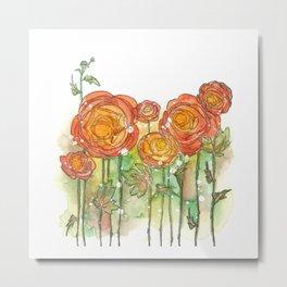 Whimsical Ranunculus Metal Print