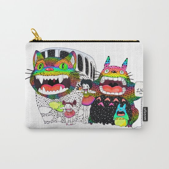 Totoro fan art (cat bus) by Luna Portnoi Carry-All Pouch