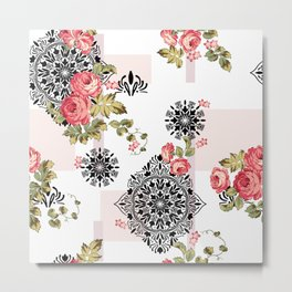 Floral and Abstract Texture Fabric Vector Pattern Metal Print