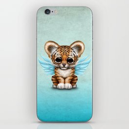 Cute Baby Tiger Cub with Fairy Wings on Blue iPhone Skin
