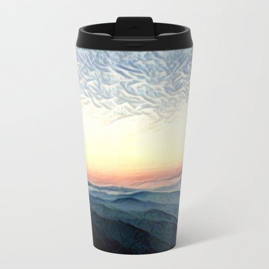 Pastel Sunset over Mountains (Hipster Landscape) Metal Travel Mug