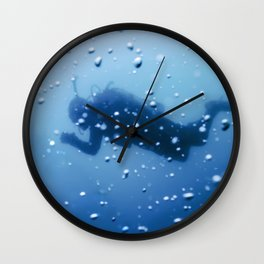 Scuba Diver Swimming on a Blue Water Air Bubbles Wall Clock