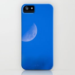 Selective focus photo. Growing moon in the blue sky. iPhone Case