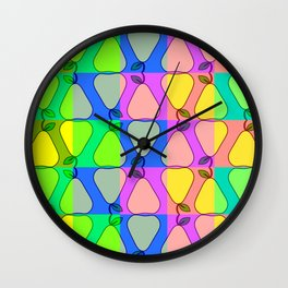 Colorful pears Wall Clock