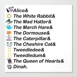 Alice in Wonderland Names Canvas Print