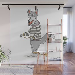 wolf with chains in striped shirt Wall Mural