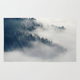 Mountain Fog and Forest Photo Rug