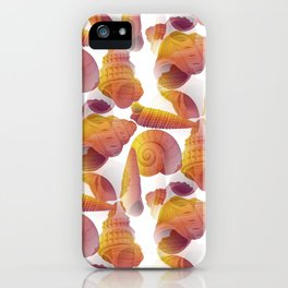 Ancient Seashells Illustration in Red Natural Colors iPhone Case