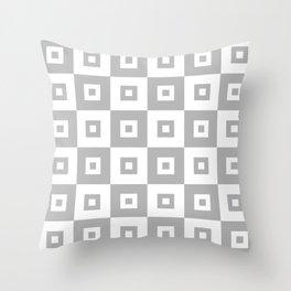 Mid Century Grey Squares Throw Pillow