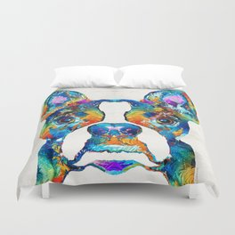 Colorful Boston Terrier Dog Pop Art - Sharon Cummings Duvet Cover